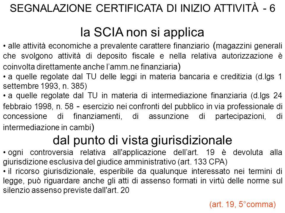 SEGNALAZIONE CERTIFICATA DI INIZIO ATTIVITÀ - 6 la SCIA non si applica alle attività economiche a prevalente carattere finanziario ( magazzini general