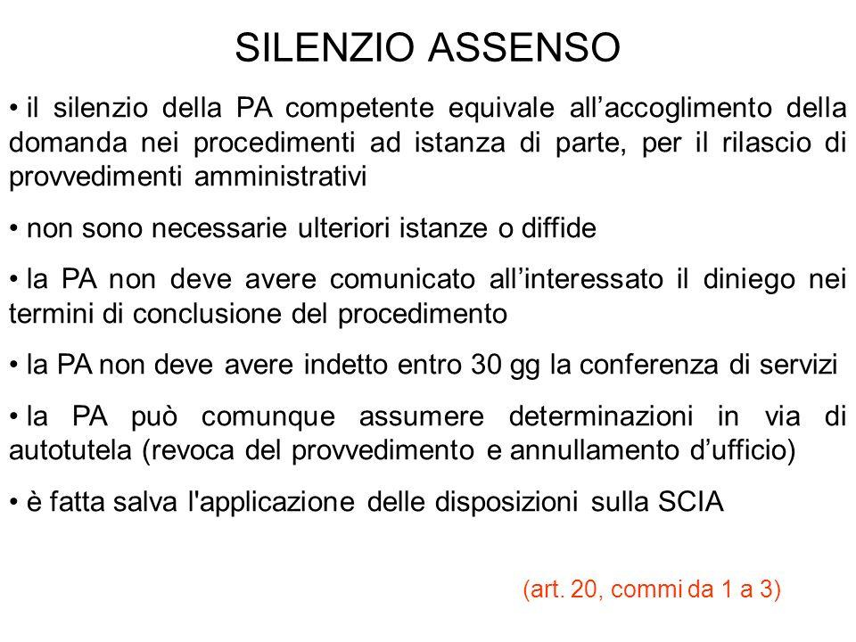 SILENZIO ASSENSO il silenzio della PA competente equivale allaccoglimento della domanda nei procedimenti ad istanza di parte, per il rilascio di provv