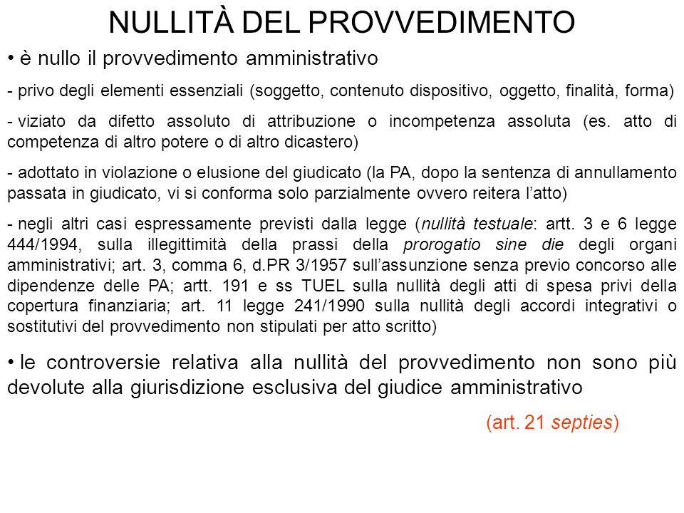 NULLITÀ DEL PROVVEDIMENTO è nullo il provvedimento amministrativo - privo degli elementi essenziali (soggetto, contenuto dispositivo, oggetto, finalit
