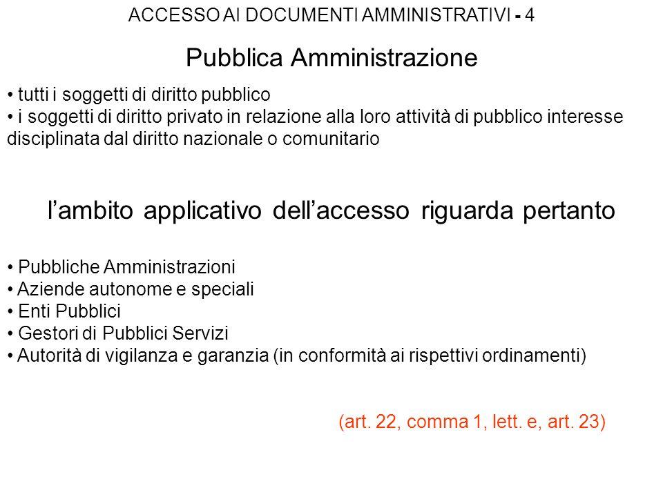 ACCESSO AI DOCUMENTI AMMINISTRATIVI - 4 Pubblica Amministrazione tutti i soggetti di diritto pubblico i soggetti di diritto privato in relazione alla