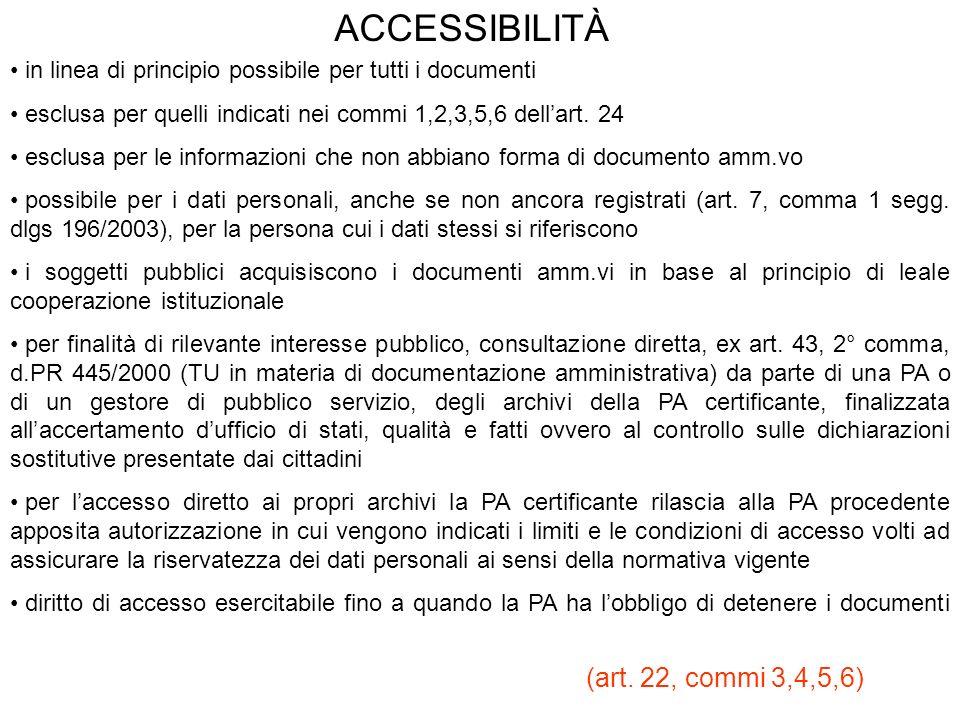 ACCESSIBILITÀ in linea di principio possibile per tutti i documenti esclusa per quelli indicati nei commi 1,2,3,5,6 dellart. 24 esclusa per le informa