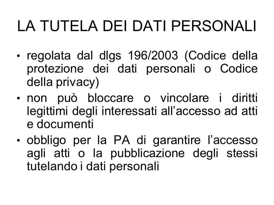 LA TUTELA DEI DATI PERSONALI regolata dal dlgs 196/2003 (Codice della protezione dei dati personali o Codice della privacy) non può bloccare o vincola