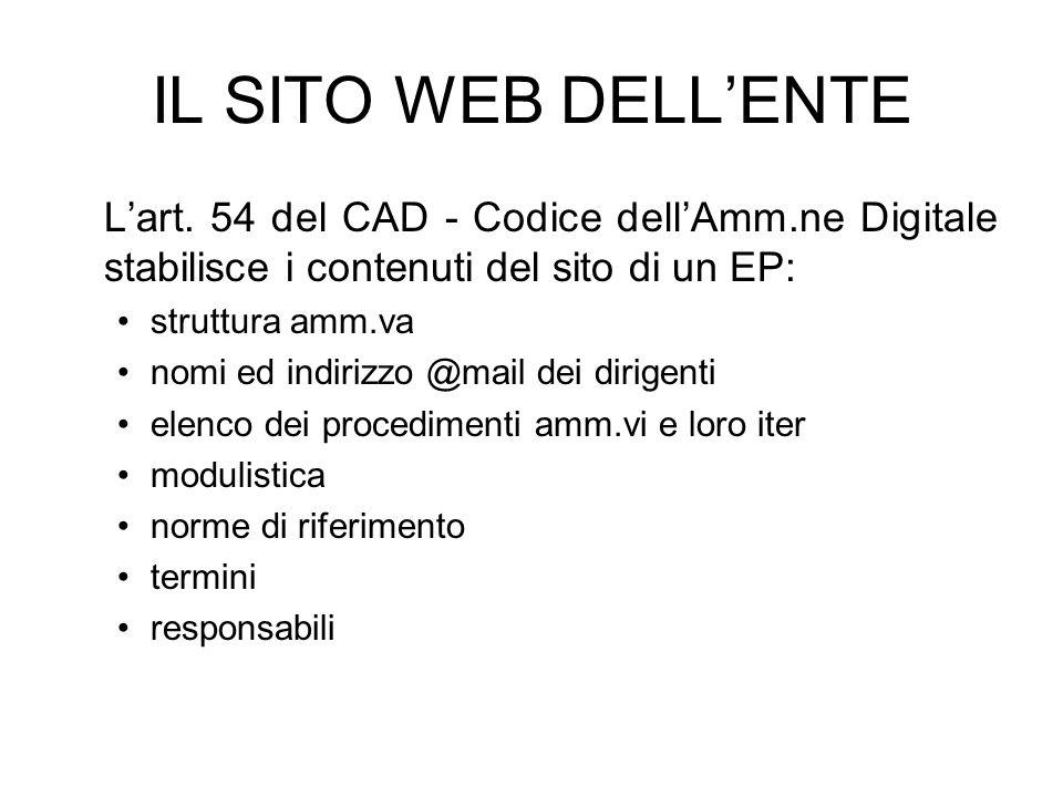 IL SITO WEB DELLENTE Lart. 54 del CAD - Codice dellAmm.ne Digitale stabilisce i contenuti del sito di un EP: struttura amm.va nomi ed indirizzo @mail