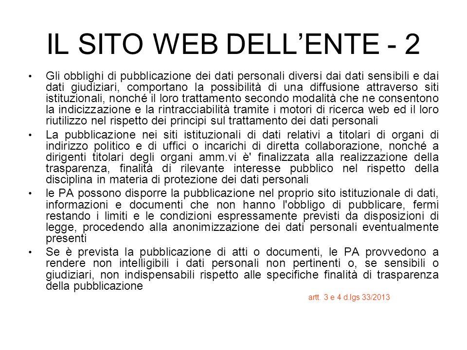 IL SITO WEB DELLENTE - 2 Gli obblighi di pubblicazione dei dati personali diversi dai dati sensibili e dai dati giudiziari, comportano la possibilità