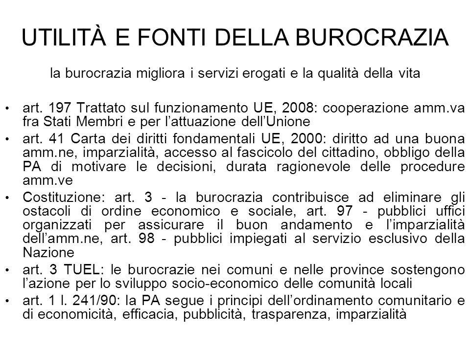 UTILITÀ E FONTI DELLA BUROCRAZIA la burocrazia migliora i servizi erogati e la qualità della vita art. 197 Trattato sul funzionamento UE, 2008: cooper