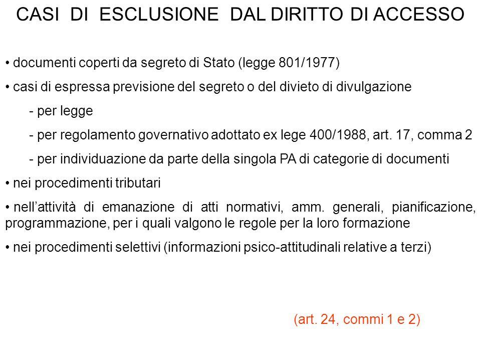 CASI DI ESCLUSIONE DAL DIRITTO DI ACCESSO documenti coperti da segreto di Stato (legge 801/1977) casi di espressa previsione del segreto o del divieto