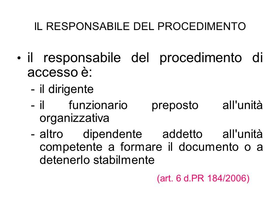 IL RESPONSABILE DEL PROCEDIMENTO il responsabile del procedimento di accesso è: - -il dirigente - -il funzionario preposto all'unità organizzativa - -