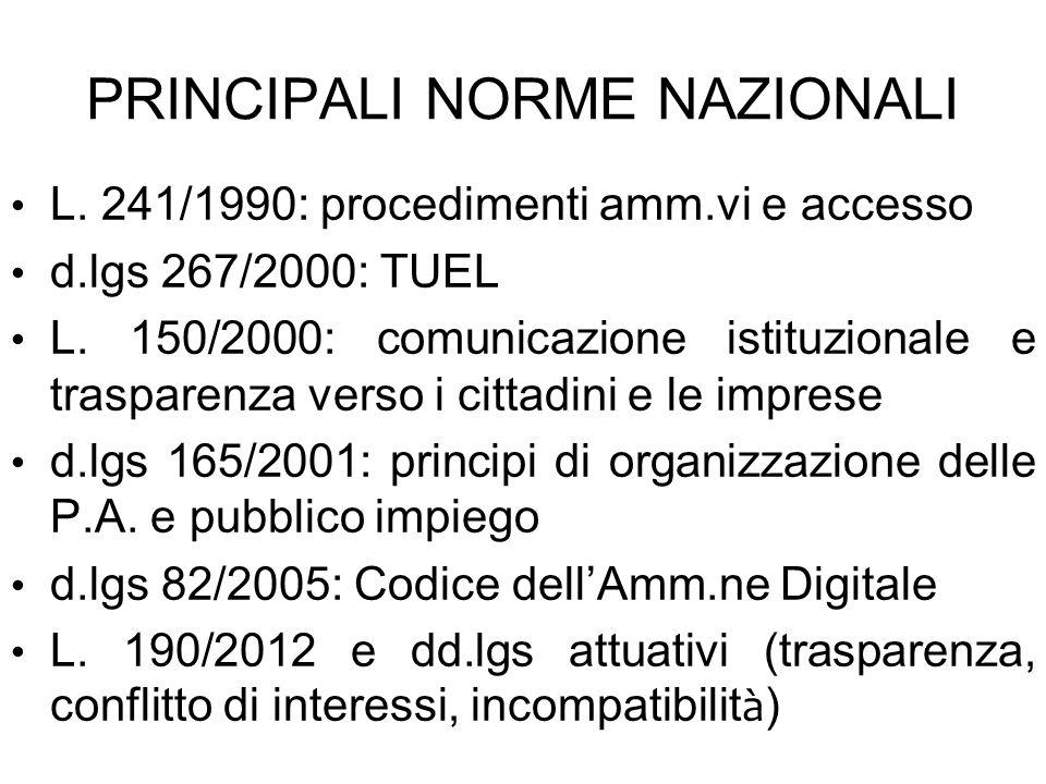 PRINCIPALI NORME NAZIONALI L. 241/1990: procedimenti amm.vi e accesso d.lgs 267/2000: TUEL L. 150/2000: comunicazione istituzionale e trasparenza vers