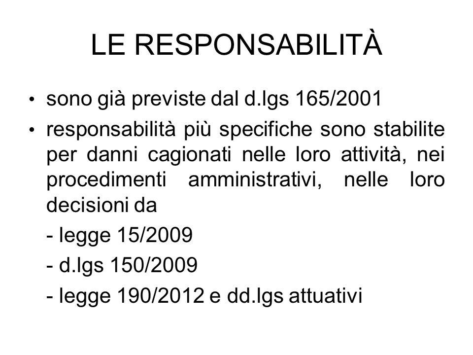 LE RESPONSABILITÀ sono già previste dal d.lgs 165/2001 responsabilità più specifiche sono stabilite per danni cagionati nelle loro attività, nei proce