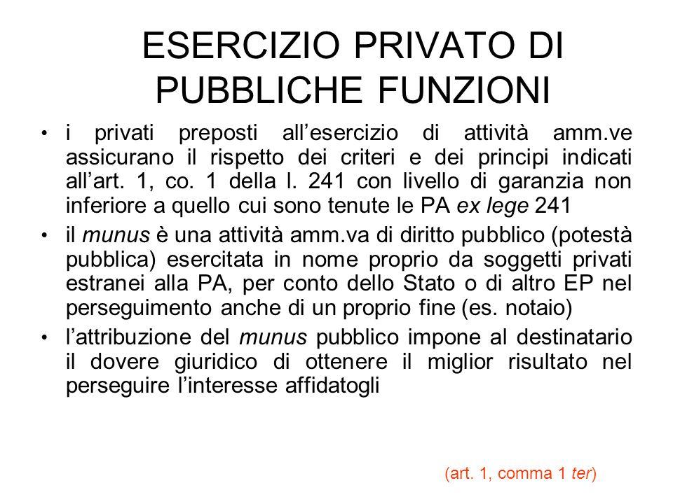 ESERCIZIO PRIVATO DI PUBBLICHE FUNZIONI i privati preposti allesercizio di attività amm.ve assicurano il rispetto dei criteri e dei principi indicati