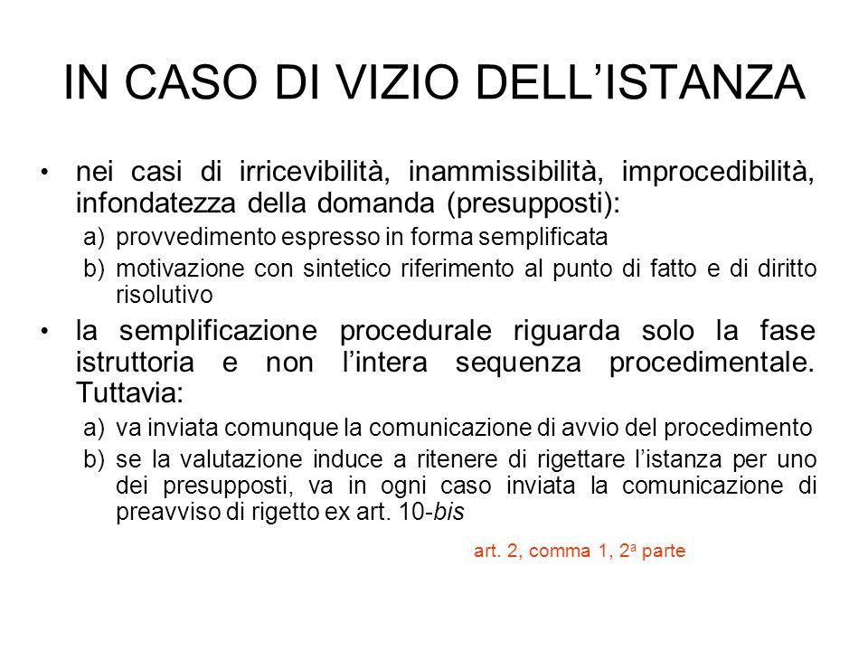 IN CASO DI VIZIO DELLISTANZA nei casi di irricevibilità, inammissibilità, improcedibilità, infondatezza della domanda (presupposti): a) a)provvediment