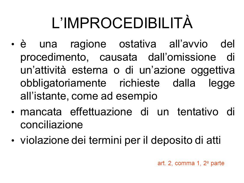 LIMPROCEDIBILITÀ è una ragione ostativa allavvio del procedimento, causata dallomissione di unattività esterna o di unazione oggettiva obbligatoriamen
