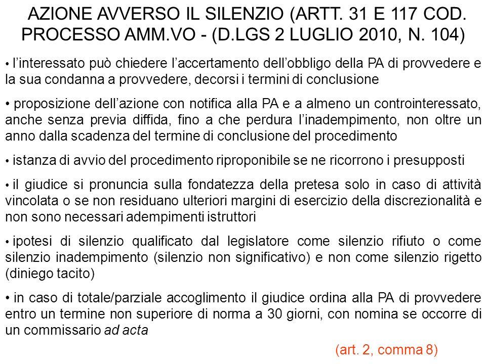 AZIONE AVVERSO IL SILENZIO (ARTT. 31 E 117 COD. PROCESSO AMM.VO - (D.LGS 2 LUGLIO 2010, N. 104) linteressato può chiedere laccertamento dellobbligo de