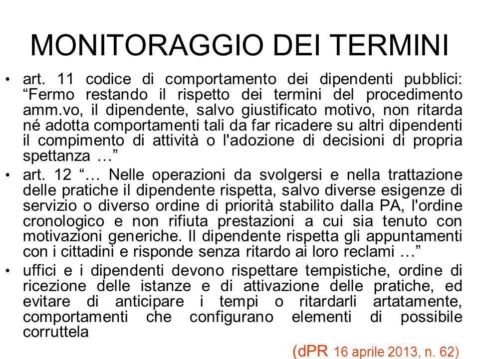 MONITORAGGIO DEI TERMINI art. 11 codice di comportamento dei dipendenti pubblici: Fermo restando il rispetto dei termini del procedimento amm.vo, il d