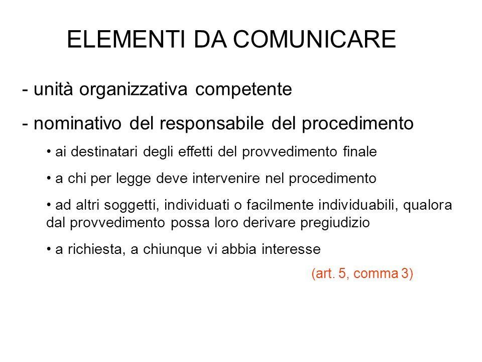 ELEMENTI DA COMUNICARE - unità organizzativa competente - nominativo del responsabile del procedimento ai destinatari degli effetti del provvedimento