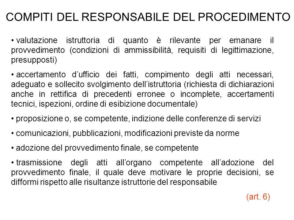 COMPITI DEL RESPONSABILE DEL PROCEDIMENTO valutazione istruttoria di quanto è rilevante per emanare il provvedimento (condizioni di ammissibilità, req