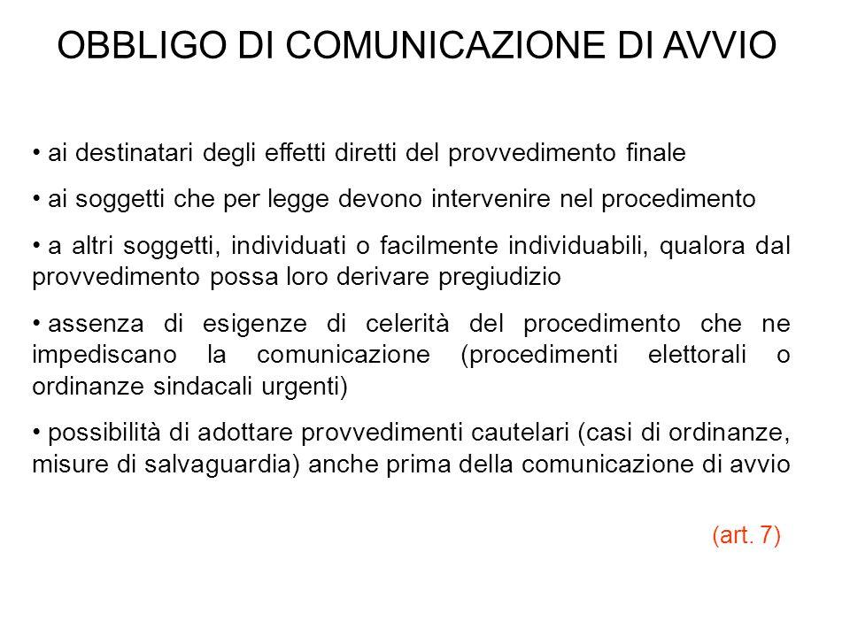 OBBLIGO DI COMUNICAZIONE DI AVVIO ai destinatari degli effetti diretti del provvedimento finale ai soggetti che per legge devono intervenire nel proce