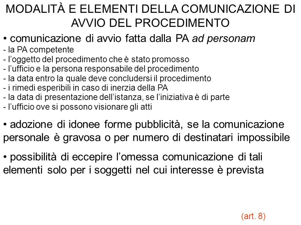 MODALITÀ E ELEMENTI DELLA COMUNICAZIONE DI AVVIO DEL PROCEDIMENTO comunicazione di avvio fatta dalla PA ad personam - la PA competente - loggetto del