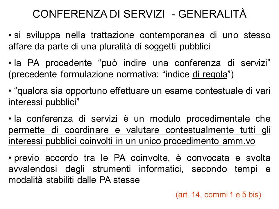 CONFERENZA DI SERVIZI - GENERALITÀ si sviluppa nella trattazione contemporanea di uno stesso affare da parte di una pluralità di soggetti pubblici la