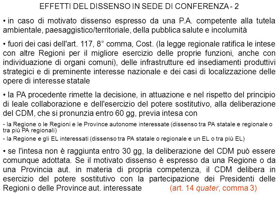 EFFETTI DEL DISSENSO IN SEDE DI CONFERENZA - 2 in caso di motivato dissenso espresso da una P.A. competente alla tutela ambientale, paesaggistico/terr