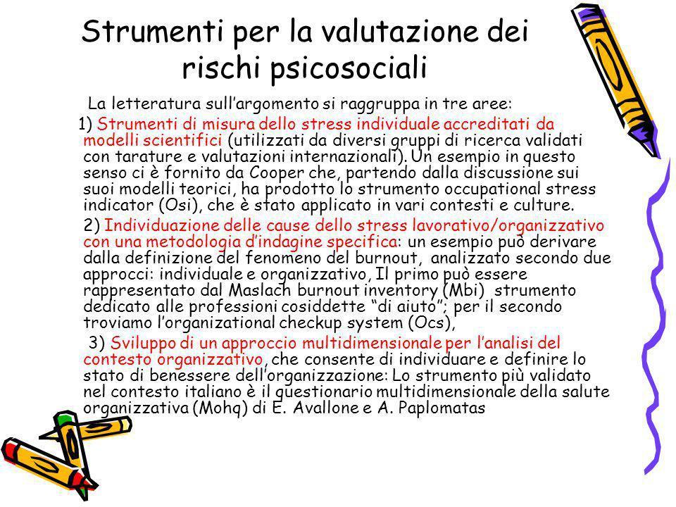 Strumenti per la valutazione dei rischi psicosociali La letteratura sullargomento si raggruppa in tre aree: 1) Strumenti di misura dello stress indivi