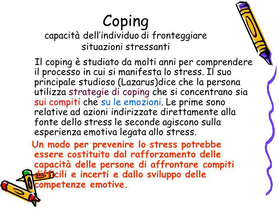 Coping capacità dellindividuo di fronteggiare situazioni stressanti Il coping è studiato da molti anni per comprendere il processo in cui si manifesta