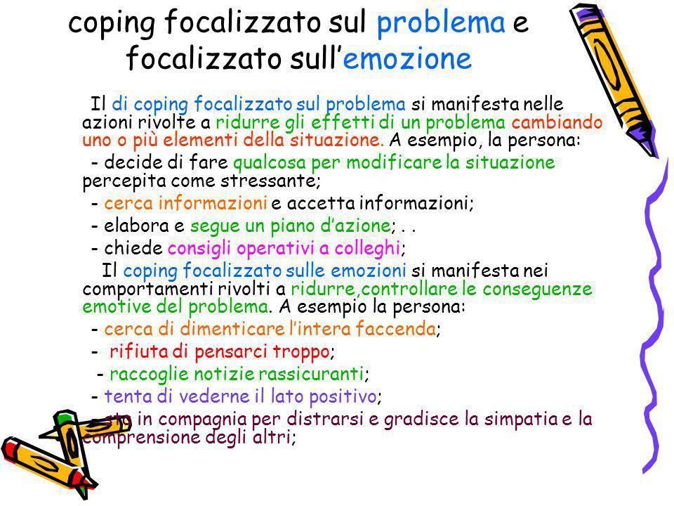 coping focalizzato sul problema e focalizzato sullemozione Il di coping focalizzato sul problema si manifesta nelle azioni rivolte a ridurre gli effet