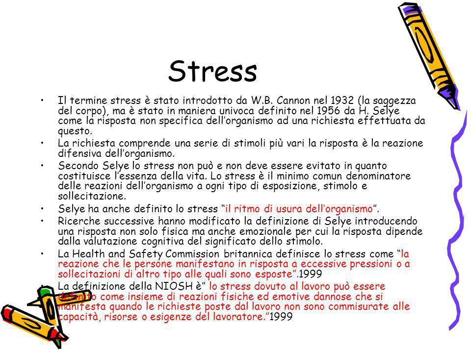 Stress Il termine stress è stato introdotto da W.B. Cannon nel 1932 (la saggezza del corpo), ma è stato in maniera univoca definito nel 1956 da H. Sel