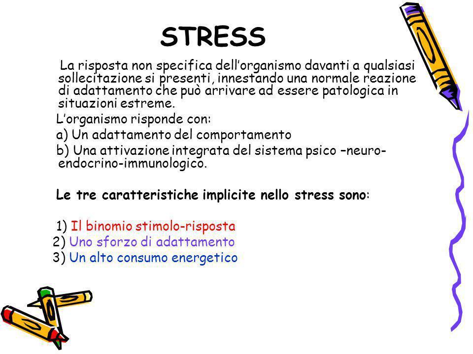 STRESS La risposta non specifica dellorganismo davanti a qualsiasi sollecitazione si presenti, innestando una normale reazione di adattamento che può