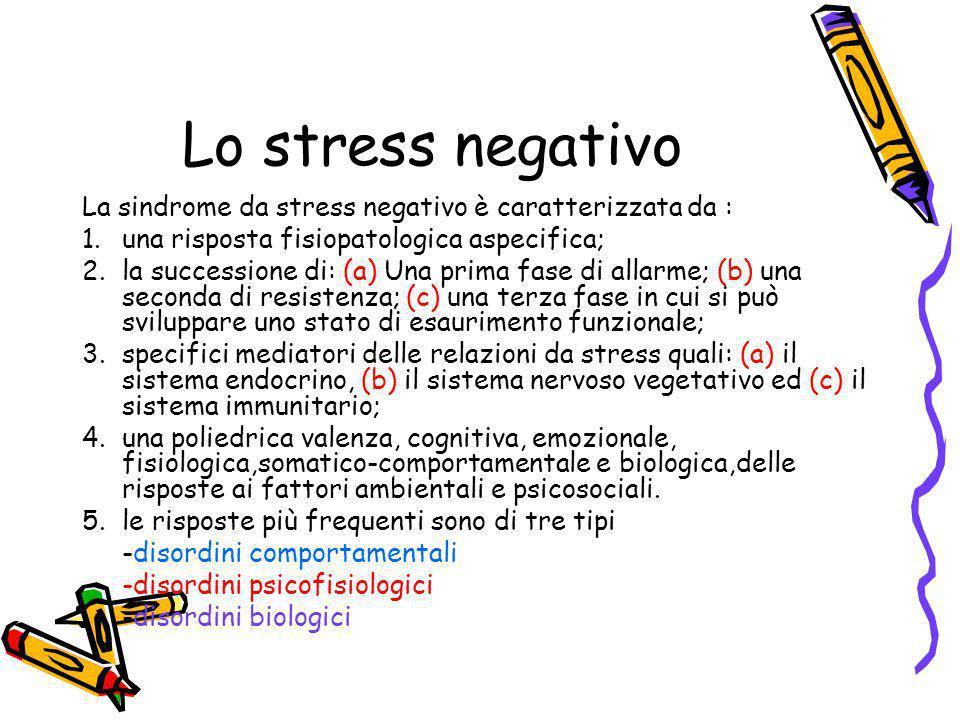 Lo stress negativo La sindrome da stress negativo è caratterizzata da : 1.una risposta fisiopatologica aspecifica; 2.la successione di: (a) Una prima