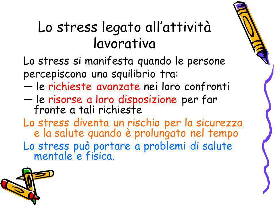 Lo stress legato allattività lavorativa Lo stress si manifesta quando le persone percepiscono uno squilibrio tra: le richieste avanzate nei loro confr