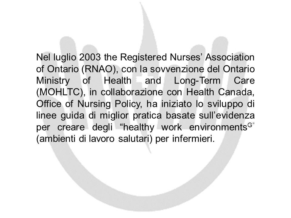 Nel luglio 2003 the Registered Nurses Association of Ontario (RNAO), con la sovvenzione del Ontario Ministry of Health and Long-Term Care (MOHLTC), in