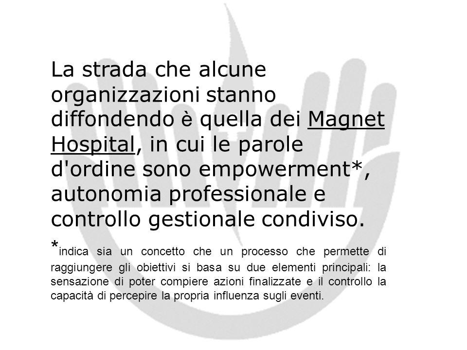 La strada che alcune organizzazioni stanno diffondendo è quella dei Magnet Hospital, in cui le parole d'ordine sono empowerment*, autonomia profession