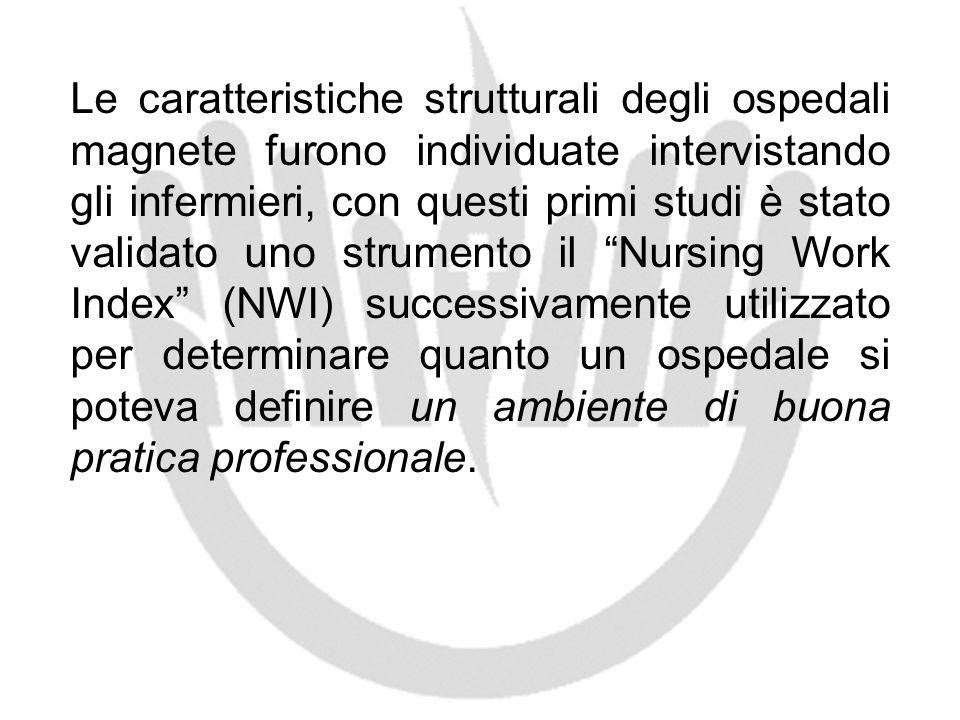 Le caratteristiche strutturali degli ospedali magnete furono individuate intervistando gli infermieri, con questi primi studi è stato validato uno str