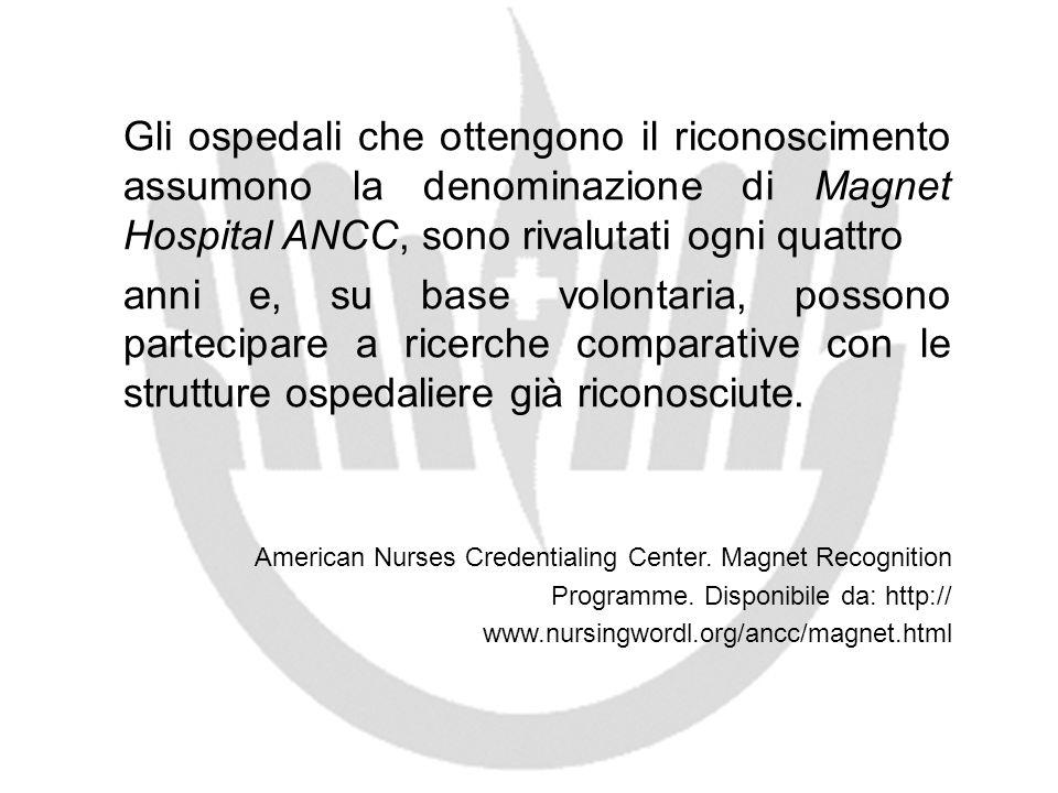 Gli ospedali che ottengono il riconoscimento assumono la denominazione di Magnet Hospital ANCC, sono rivalutati ogni quattro anni e, su base volontari
