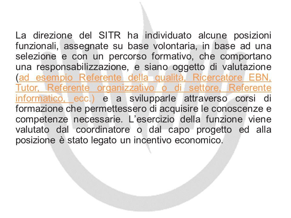 La direzione del SITR ha individuato alcune posizioni funzionali, assegnate su base volontaria, in base ad una selezione e con un percorso formativo,