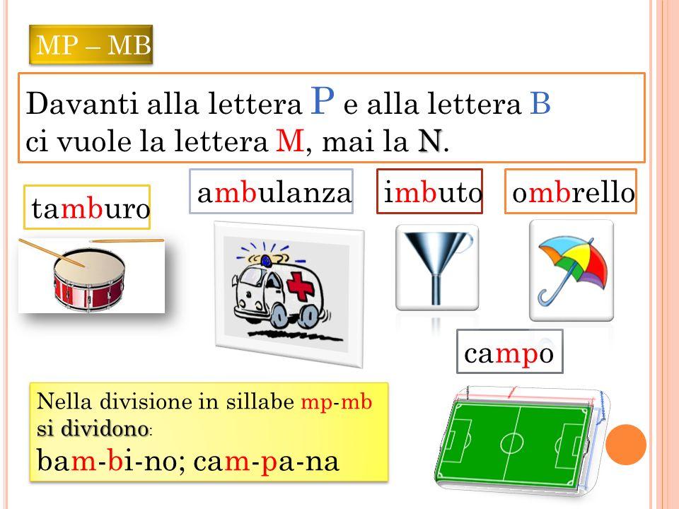MP – MB Davanti alla lettera P e alla lettera B ci vuole la lettera M, mai la N NN N. campo ambulanza tamburo imbuto ombrello Nella divisione in silla