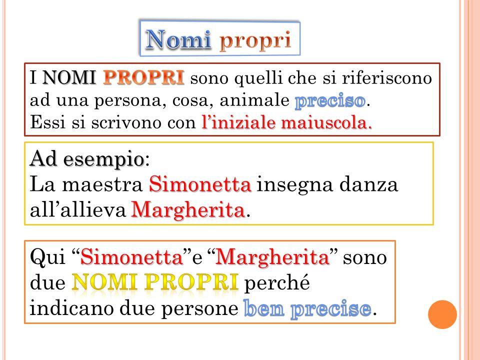 Ad esempio Ad esempio: Simonetta Margherita La maestra Simonetta insegna danza allallieva Margherita.