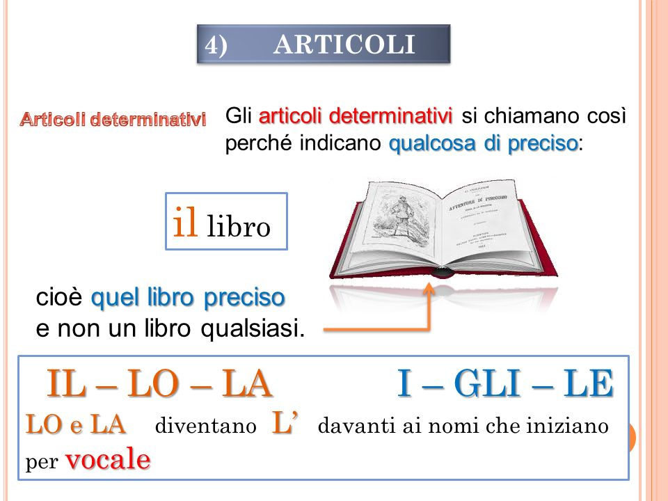 4) ARTICOLI articoli determinativi qualcosa di preciso Gli articoli determinativi si chiamano così perché indicano qualcosa di preciso: il libro quel