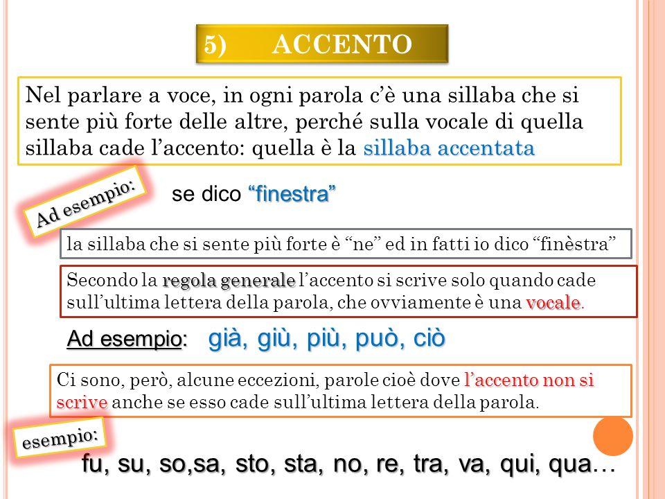 5) ACCENTO laccento non si scrive Ci sono, però, alcune eccezioni, parole cioè dove laccento non si scrive anche se esso cade sullultima lettera della