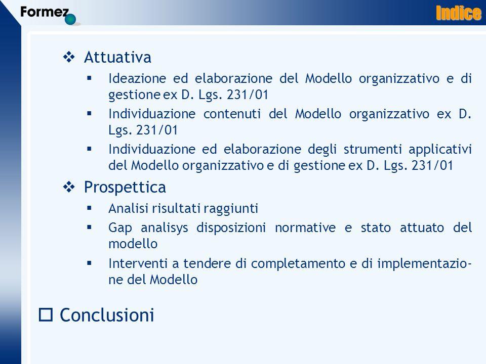Indice Attuativa Ideazione ed elaborazione del Modello organizzativo e di gestione ex D.
