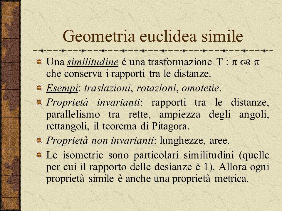 Geometria euclidea metrica Supponiamo che sia dotato di ununità di misura e quindi di una distanza d(P,Q) tra i punti. Una isometria è una trasformazi