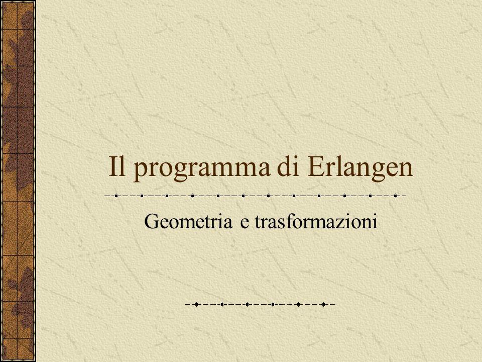 Contenuti della lezione Il programma di Erlangen Gruppi di trasformazioni Geometrie del piano Geometria proiettiva Un modello del piano proiettivo rea
