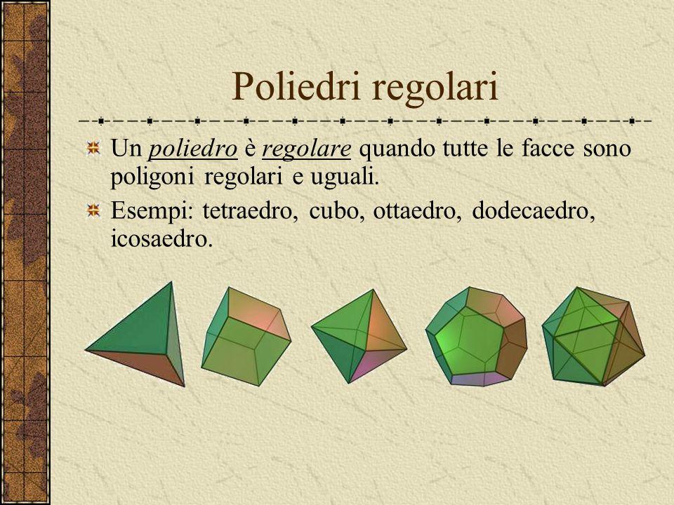 Poliedri Un poliedro è una figura geometrica delimitato da poligoni, dette facce, che si incollano lungo i lati, detti spigoli. Gli spigoli si interse