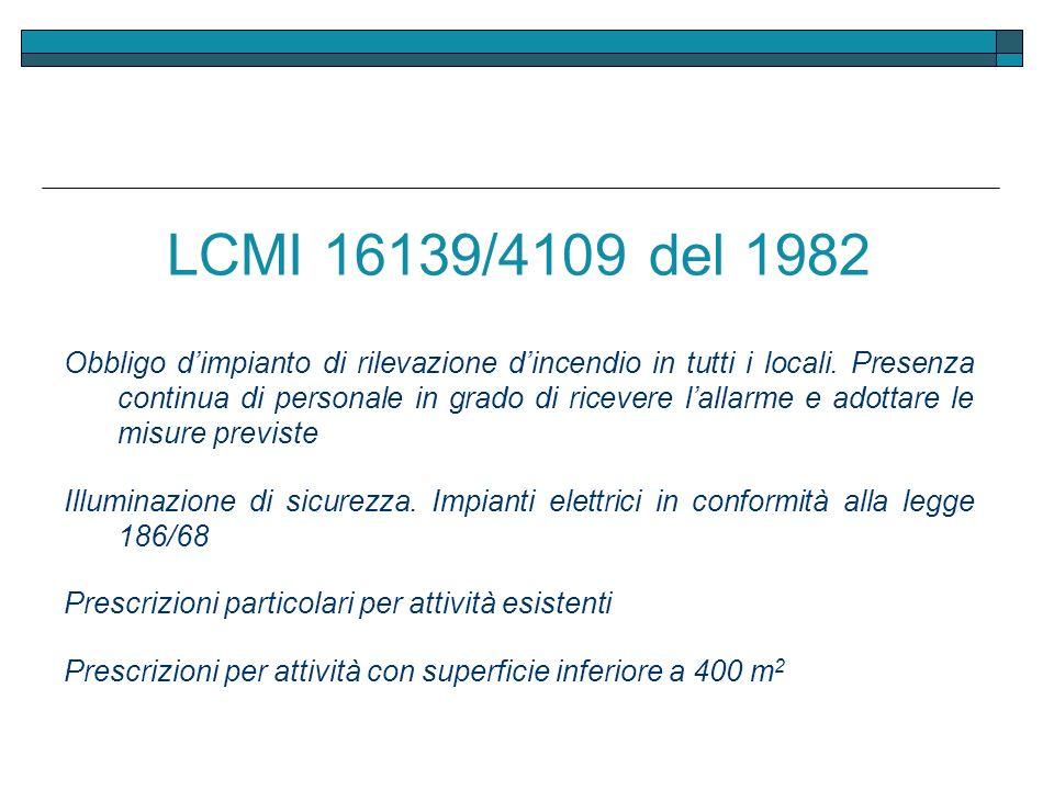 LCMI 16139/4109 del 1982 Obbligo dimpianto di rilevazione dincendio in tutti i locali. Presenza continua di personale in grado di ricevere lallarme e