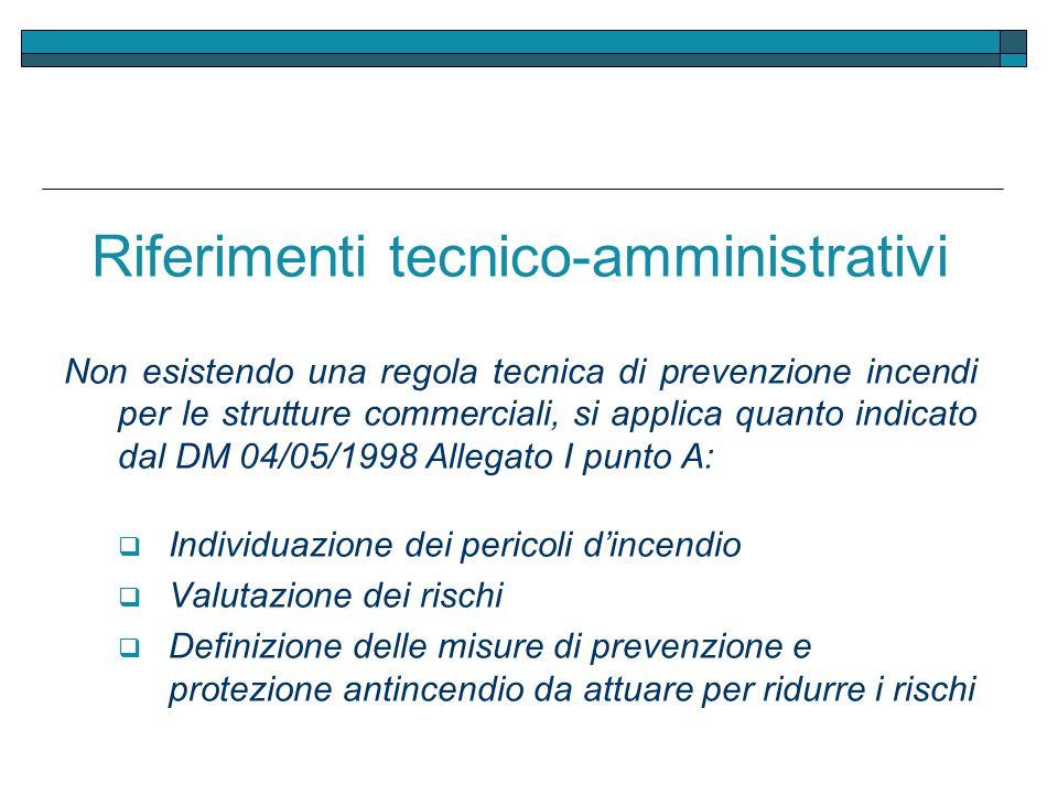 Riferimenti tecnico-amministrativi Non esistendo una regola tecnica di prevenzione incendi per le strutture commerciali, si applica quanto indicato da