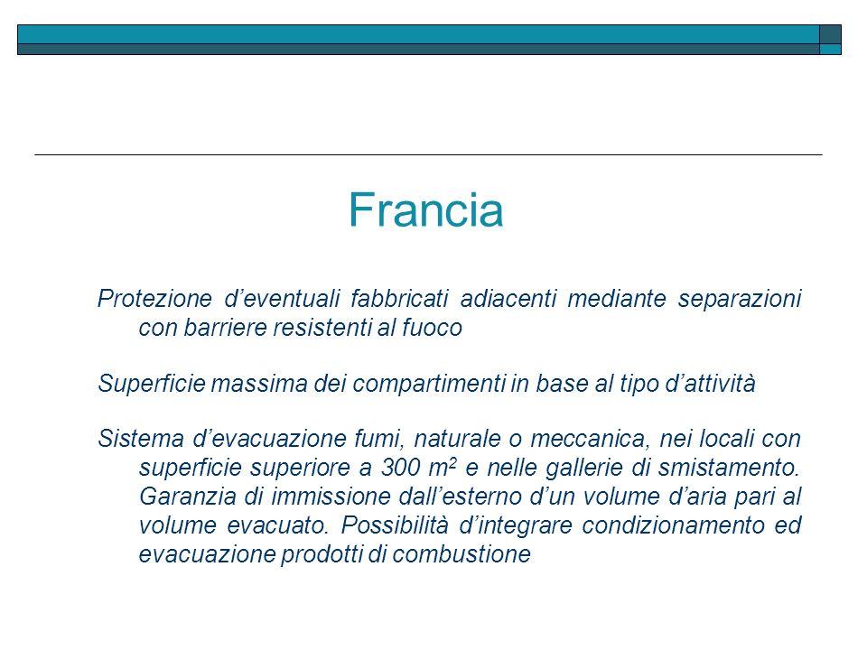 Francia Protezione deventuali fabbricati adiacenti mediante separazioni con barriere resistenti al fuoco Superficie massima dei compartimenti in base