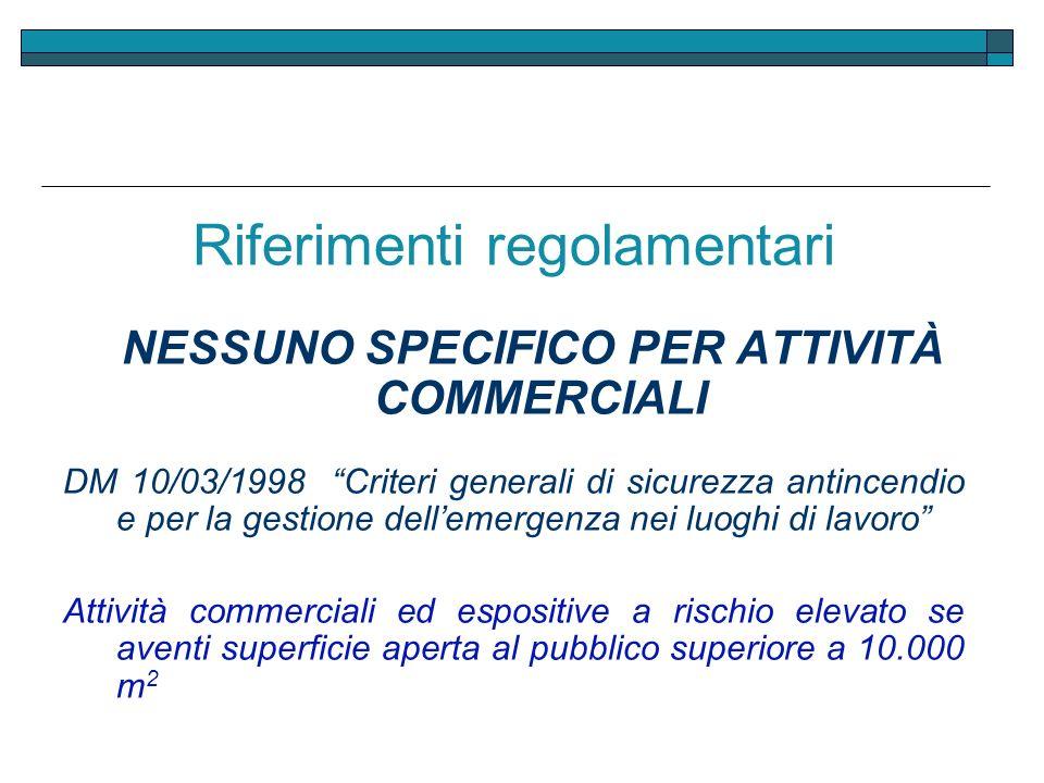 Riferimenti regolamentari NESSUNO SPECIFICO PER ATTIVITÀ COMMERCIALI DM 10/03/1998 Criteri generali di sicurezza antincendio e per la gestione delleme