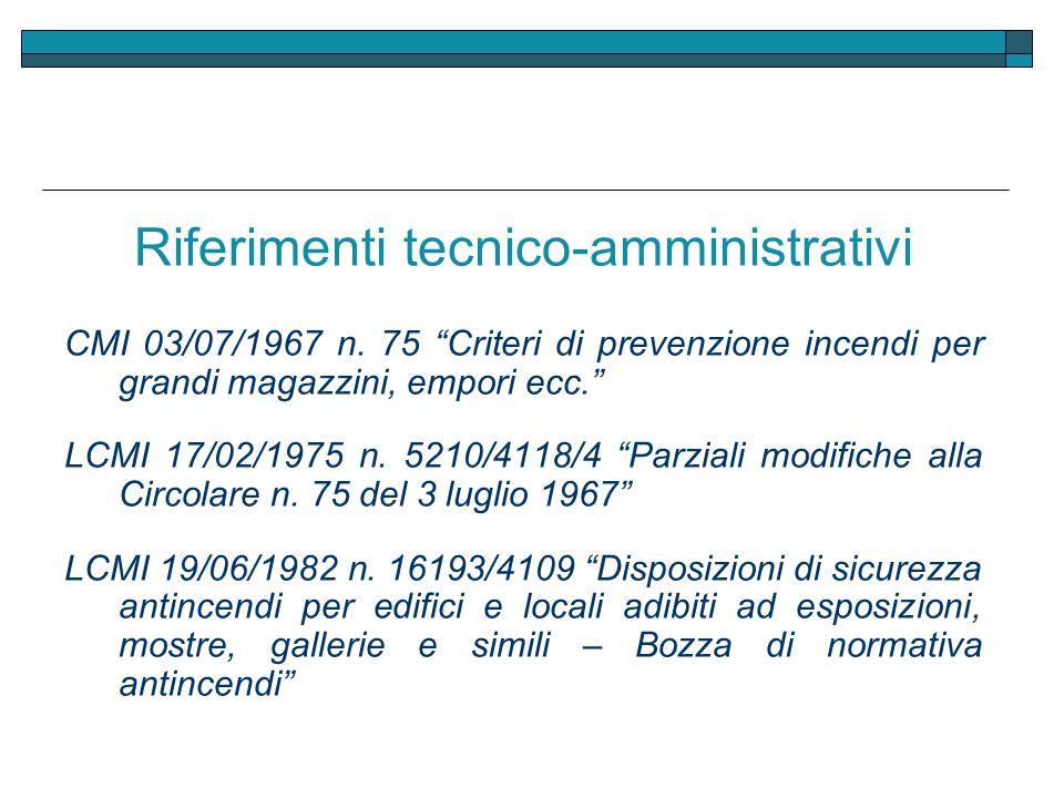 Riferimenti tecnico-amministrativi CMI 03/07/1967 n. 75 Criteri di prevenzione incendi per grandi magazzini, empori ecc. LCMI 17/02/1975 n. 5210/4118/