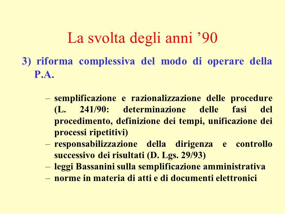 La svolta degli anni 90 3) riforma complessiva del modo di operare della P.A. –semplificazione e razionalizzazione delle procedure (L. 241/90: determi